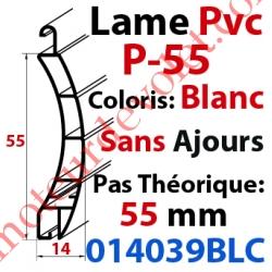 Lame Pvc Double Paroi P-55 de 55 x 14 Coloris Blanc Sans Ajourage