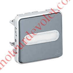 Poussoir Etanche Plexo Lumineux 1 Contact NO 10 A  Avec Porte-étiquette Gris