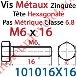 Vis Métaux Tête Hexagonale Zinguée 6 x 16 mm Filetage Total Classe 6.8 Iso 4017