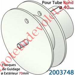 Poulie de Cordon ou de Sangle ø 70 mm Emb Rond à Goutte ø 40 Lg Entre Flasque 14 mm Pivot Ext diamètre 6 mm