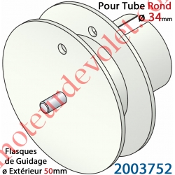 Poulie de Cordon ou de Sangle ø 50 mm Emb Rond à Goutte ø 34 Lg Entre Flasque 10 mm Pivot Ext diamètre 6 mm