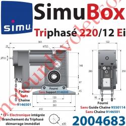 Moteur SimuBox 220/12 Triphasé Arbre Creux ø 30 Av Electronique Intégrée Av Mds Carré 10 Mâle ou Chaîne