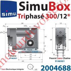 Moteur SimuBox 300/12 Triphasé Arbre Creux ø 30 Sans Electronique Intégrée Av Mds Carré 10 Mâle ou Chaîne