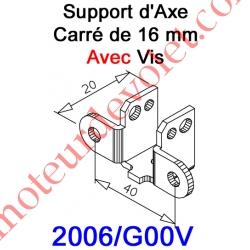 Support d'Axe en Carré de 16 Avec Vis 5 x 25 de Serrage du Carré
