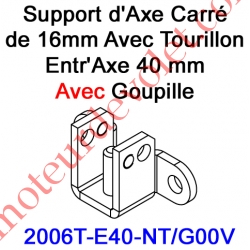 Support d'Axe en Carré de 16 Avec Tourillon Entr'Axe 40 mm Avec Goupille
