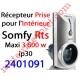 Récepteur Prise intérieure Rts ip 30 Puissance Maxi 3 600 w