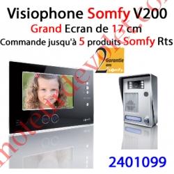Visiophone Couleur Somfy V200 2 Fils Avec Emetteur Rts Intégré Version Noire