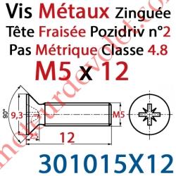 Vis Métaux Tête Fraisée Pozidriv Zinguée 5 x 12 mm Classe 4.8 Din 965