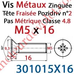 Vis Métaux Tête Fraisée Pozidriv Zinguée 5 x 16 mm Classe 4.8 Din 965