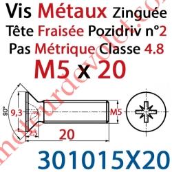 Vis Métaux Tête Fraisée Pozidriv Zinguée 5 x 20 mm Classe 4.8 Din 965