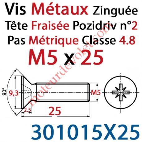 Vis Métaux Tête Fraisée Pozidriv Zinguée 5 x 25 mm Classe 4.8 Din 965