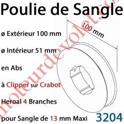 Poulie de Sangle en Abs ø 100 mm à Clipper sur Crabot Heroal 4 Branches