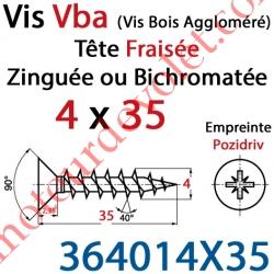 Vis Vba Tête Fraisée Pozidriv Filetage Total Acier Zingué 4 x 35 mm