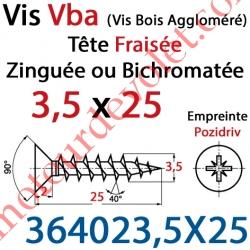 Vis Vba Tête Fraisée Pozidriv Filetage Total Acier Zingué Bichromaté 3,5 x 25 mm