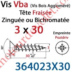 Vis Vba Tête Fraisée Pozidriv Filetage Total Acier Zingué Bichromaté 3 x 30 mm