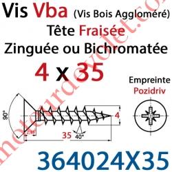 Vis Vba Tête Fraisée Pozidriv Filetage Total Acier Zingué Bichromaté 4 x 35 mm