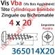 Vis Vba Tête Cylindrique Bombée Pozidriv Filetage Total Acier Zingué ou Zingué-Bichromaté 4 x 20 mm