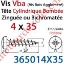 Vis Vba Tête Cylindrique Bombée Pozidriv Filetage Total Acier Zingué ou Zingué-Bichromaté 4 x 35 mm