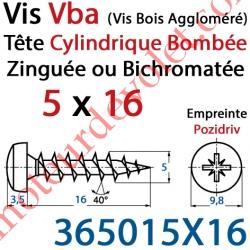 Vis Vba Tête Cylindrique Bombée Pozidriv Filetage Total Acier Zingué ou Zingué-Bichromaté 5 x 16 mm