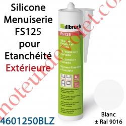 Silicone Menuiserie FS125 pour Etanchéité Extérieure Coloris Blanc ± Ral 9016 en Cartouche de 310 ml