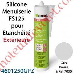 Silicone Menuiserie FS125 pour Etanchéité Extérieure Coloris Gris Pierre ± Ral 7035 en Cartouche de 310 ml