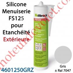 Silicone Menuiserie FS125 pour Etanchéité Extérieure Coloris Gris ± Ral 7047 en Cartouche de 310 ml