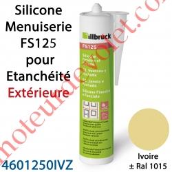Silicone Menuiserie FS125 pour Etanchéité Extérieure Coloris Ivoire ± Ral 1015 en Cartouche de 310 ml