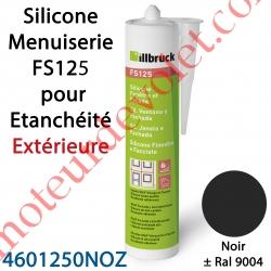 Silicone Menuiserie FS125 pour Etanchéité Extérieure Coloris Noir ± Ral 9004 en Cartouche de 310 ml