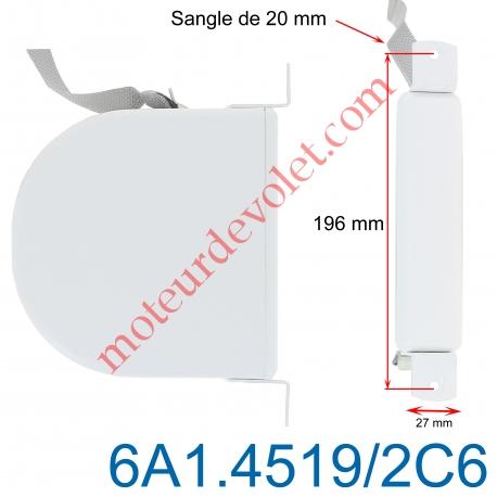 Enrouleur Pivotant de Sangle Blanc Largeur 20 mm Longueur 6m