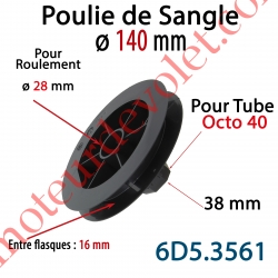 Poulie de Sangle ø 140 Emb Octo 40 Lg 38 Entre Flasque 16 pr Roulement ø 28 mm