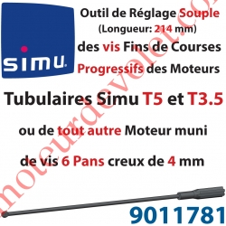 Outil de Réglage Souple des Vis de Fins de Courses Progressifs Forme Hexagonale 4mm Longueur 214mm