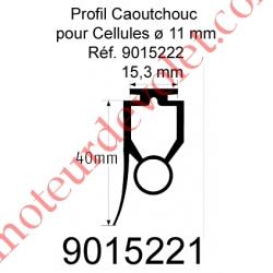 Profil Caoutchouc de Barre Palpeuse Optique 20 x 40 mm Talon 15,3 mm, le ml