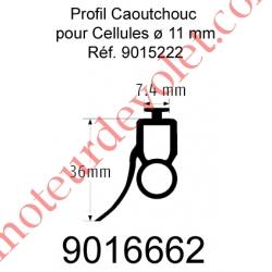 Profil Caoutchouc de Barre Palpeuse Optique 14 x 36 mm Talon 7,4 mm, le ml