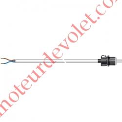 Câble H05VVF Blanc 2 x 0.75 mm² lg 1,00 m Avec Prise Clipable Exclusiment pour Moteur Somfy RS 100 io