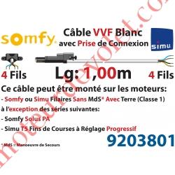 Câble H05VVF Blanc 4 x 0.75 mm² lg 1,00 m Avec Prise Noire pour Moteur LT Filaire
