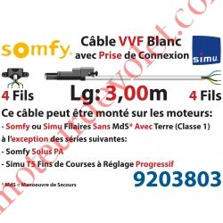 Câble H05VVF Blanc 4 x 0.75 mm² lg 3,00 m Avec Prise Noire pour Moteur LT Filaire