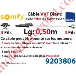 Câble H05VVF Blanc 4 x 0.75 mm² lg 0,50 m Avec Prise Noire pour Moteur LT Filaire