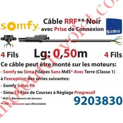 Câble H05RRF Noir Résistant aux Ultraviolets 4 x 0.75 mm² lg 0,50 m Avec Prise Noire pour Moteur LT Filaire