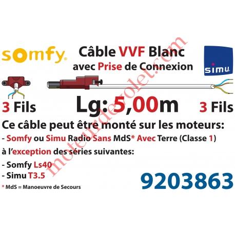 Câble H05VVF Blanc 3 x 0.75 mm² lg 5,00 m Avec Prise Marron ou Grise pour Moteur LT Rts ou io