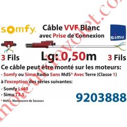 Câble H05VVF Blanc 3 x 0.75 mm² lg 0,50 m Avec Prise Marron ou Grise pour Moteur LT Rts ou io