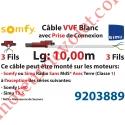 Câble H05VVF Blanc 3 x 0.75 mm² lg 10,00 m Avec Prise Marron ou Grise pour Moteur LT Rts ou io