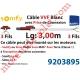 Câble H05VVF Blanc 3 x 0.75 mm² lg 3,00 m Avec Prise Marron ou Grise pour Moteur LT Rts ou io