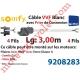 Câble H05VVF Blanc 4 x 0.75 mm² lg 3,00 m Av Prise Noire pr Moteur LT Csi Filaire