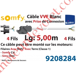 Câble H05VVF Blanc 4 x 0.75 mm² lg 5,00 m Av Prise Noire pr Moteur LT Csi Filaire