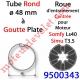 Roue pour Moteur LS 40 ou T 3.5 dans Tube ø 48 à Goutte Plate Couple limité à 9 Nm