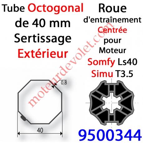 Roue pour Moteur LS 40 ou T 3.5 dans Tube Octo 40 Deprat 6 & 8/10 à Sertissage Extérieur