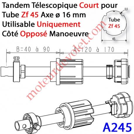Tandem Zf 45 Axe ø 16 mm Réglable de 40 à 90 mm