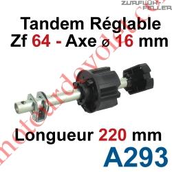 Tandem Zf 64 Axe Longueur 220 mm ø 16 mm Mâle Réglable de 38 à 88 mm