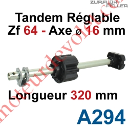 Tandem Zf 64 Axe Longueur 320 mm ø 16 mm Mâle Réglable de 38 à 130 mm