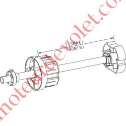Tandem Zf 80 Axe Longueur 320 mm ø 16 mm Mâle Réglable de 38 à 138 mm